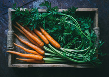 Bunch Of Fresh Baby Carrots In A Wooden Box Top View Space For Text