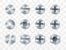 Screws, Rivets And Bolts Set. Vector Illustration Isolated On Transparent Background