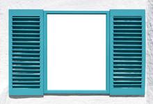 Blue Wooden Window With Open Shutter.