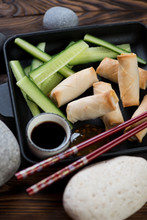 Spring Roll Appetizers With Cu...