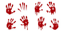 Bloody Hand Print Set Isolated...