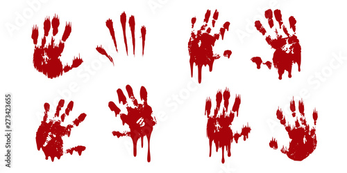 Fotografie, Obraz Bloody hand print set isolated white background