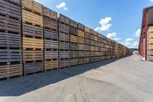 Rows Of Wooden Crates Boxes An...