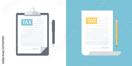 Clipboard with tax form and pen, tax form with pencil. Tax declaration or income taxation flat design vector illustration. - fototapety na wymiar