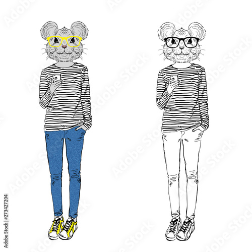 Humanized rat girl hipster with mobile dressed up in stripy top, jeans and glasses Canvas Print