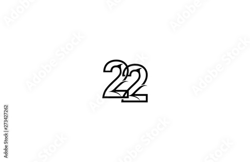 Tela  Initial Number 22 Stylish Concept Black Linear Logotype