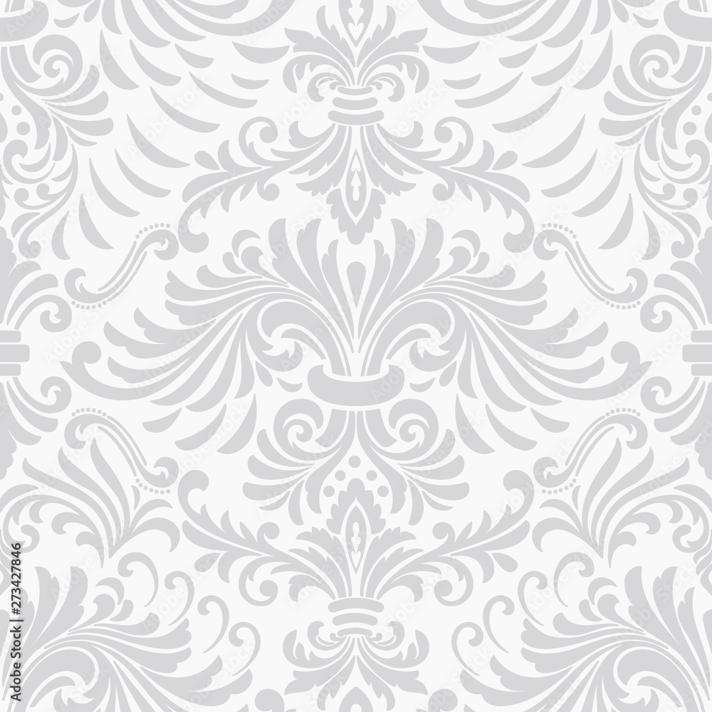 Fototapeta Vector damask seamless pattern element. Classical luxury old fashioned damask ornament, royal victorian seamless texture for wallpapers, textile, wrapping. Exquisite floral baroque template.