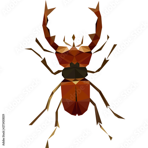 Платно Colorful polygonal illustration of a brown bug, beetle, insect