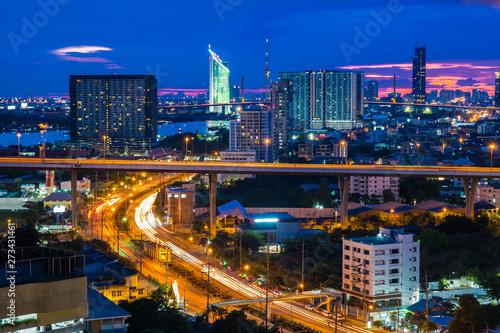 Fototapeten New York Bangkok City skyline with urban skyscrapers at sunset, Thailand