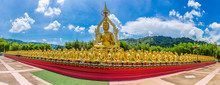 Panorama Of Big Golden Buddha Statue Among Small 1,250 Buddha Statue At Makha Bucha Buddhist Memorial Park Built On The Occasion Of Great Period, Buddha 2600 Years At Nakhon Nayok Province, Thailand