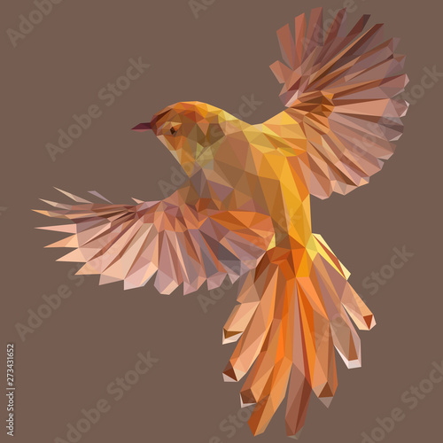 Low poly illustration of orange gold bird Fototapeta