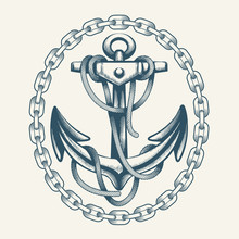Anchor With Ropes In Circle Of...