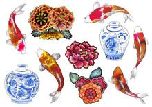 .Carp, Koi, Fish, .vase, Flowe...