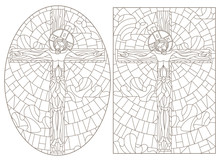 Set Of Contour Illustrations Of Stained Glass Windows On The Biblical Theme, Jesus Christ On The Cross Against The Cloudy Sky And The Sun,  Dark Contours On A White Background