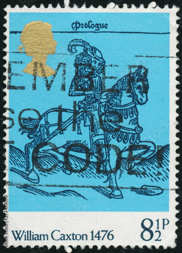 Fotografie, Obraz  Vintage stamp printed in Great Britain 1976 shows The 500th Anniversary of Bookm