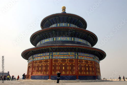 Poster Temple of Heaven in Beijing, China (Tian Tan in Beijing, China). Tiantan literally means Altar of Heaven. This temple is the Hall of Prayer for Good Harvests. Temple of Heaven, Beijing tourist sight.