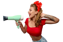 Pin Up Girl With Hairdryer On White