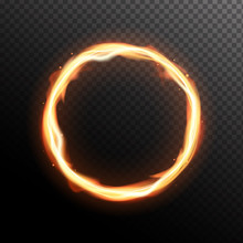Realistic Fiery Circle. Round ...