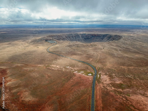 Leinwand Poster High angle aerial of Meteor Crater, Arizona.