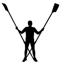 Male Rower Standing With Crossed Rowing Oars