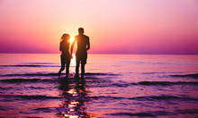 Silhouette Of Couple In Love R...