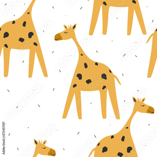 Giraffes, hand drawn backdrop. Colorful seamless pattern with animals. Decorative cute wallpaper, good for printing. Overlapping background vector. Design illustration
