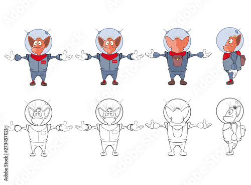 Tuinposter Babykamer Vector Illustration of a Cute Cartoon Character Monster for you Design and Computer Game. Coloring Book Outline
