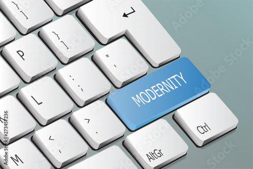 Fotografiet modernity written on the keyboard button