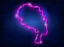 Afro Retro Girl Neon Sign. African Woman In Traditional Turban, Glowing Pink Neon Female With Retro Hair Style Isolated On Brick Wall Background. Vector For Topics Like Night Club, Dance Studio, Disco