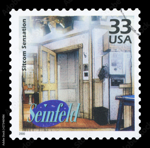 Fotografie, Tablou  UNITED STATES CIRCA OF AMERICA - 2000: a postage stamp printed in USA showing an image of Seinfeld sitcom, circa 2000