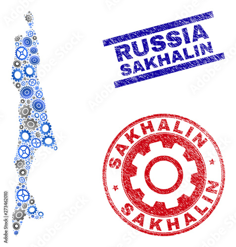 Industrial vector Sakhalin Island map collage and seals ...