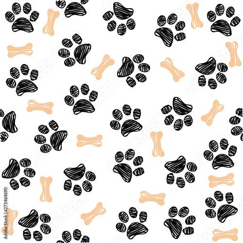 obraz lub plakat Background with dog paw print and bone