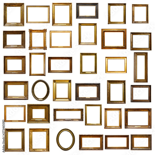 fototapeta na szkło Set of three vintage golden baroque wooden frames on isolated background