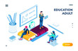 Man and woman at isometric classroom. Smartphone application page for higher or tertiary, academic online education for adult. Online or digital technology for college or university study. Training