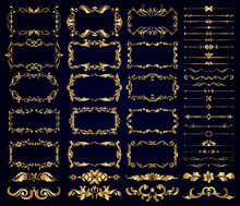 Vector Set Of Gold Decorative ...
