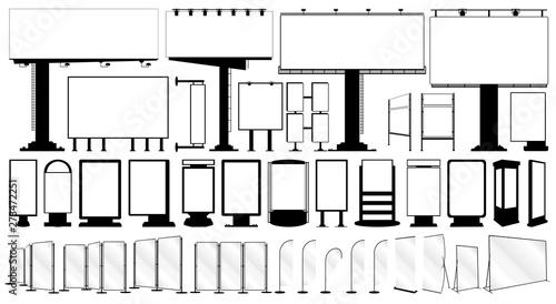 Fotografía  Vector outdoor advertising media set, isolated illustration on a white backgroun