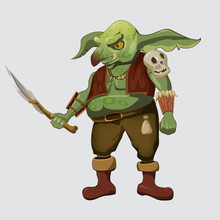 Game Object Of Orc. Orc Warrior . Stylized Fantasy Characters. Vector Illustration.