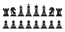 Chess Black Figures Pieces Vector Illustration. Black Chess Icons Set.