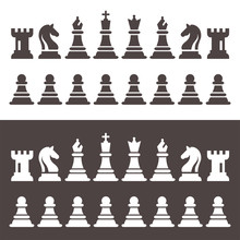 Chess Figures Pieces In Flat S...