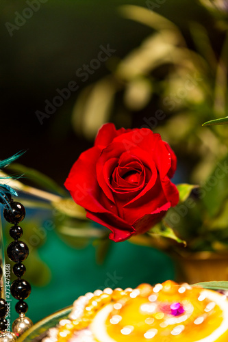 Close up of Red Rose with Jewellery and Olive Leaves