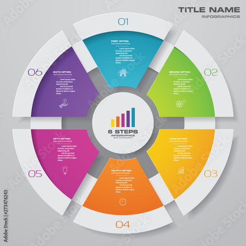 6 steps cycle chart infographics elements for data presentation. EPS 10. Fototapete