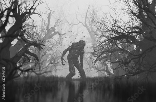 Monster in creepy forest,3d illustration Canvas Print