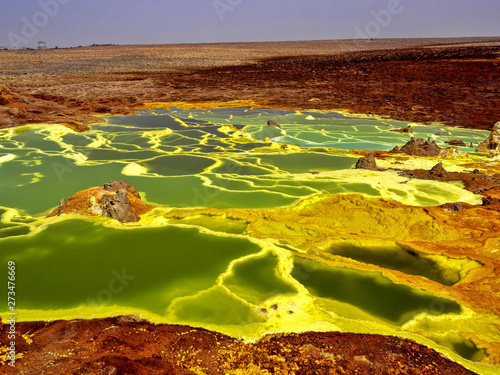 Danakil's depression dies incredibly bright colors that make salt crystals. Ethiopia