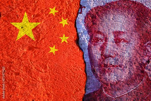 Valokuva Closeup of Mao Tse tung of China Yuan banknote and China flag on white background