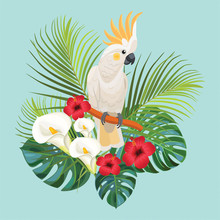 Tropical Flowers And Cockatoo....