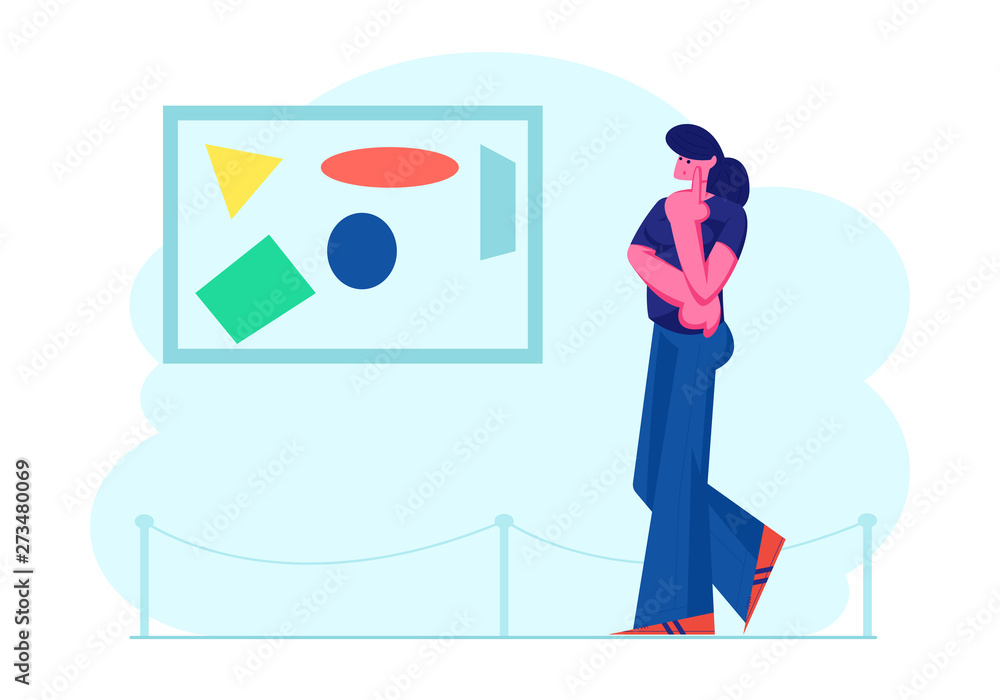 Girl Viewing Modern Abstract Painting at Contemporary Art Gallery Enjoying Watching Creative Artworks or Exhibits in Museum. Exhibition Visitor Character Spare Time, Cartoon Flat Vector Illustration