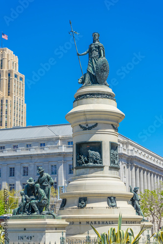 Day view of Pioneer Monument in San Francisco, California. USA Canvas Print