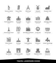 Travel, Landmark, Famous Place, Icons, Vector And Illustration.
