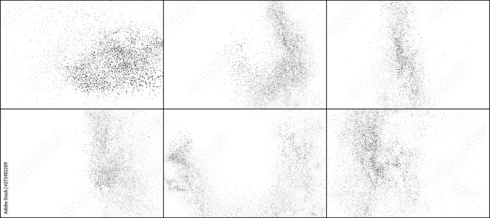 Fototapeta  Set of Black Grainy Texture Isolated on White Background. Dust Overlay Textured. Dark Rough Noise Particles. Digitally Generated Image. Vector Design Elements, Illustration, EPS 10.
