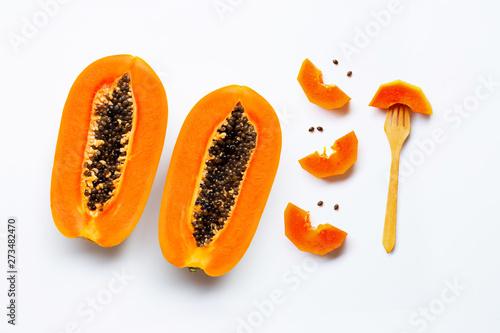 Ripe papaya fruit on white background. Canvas Print